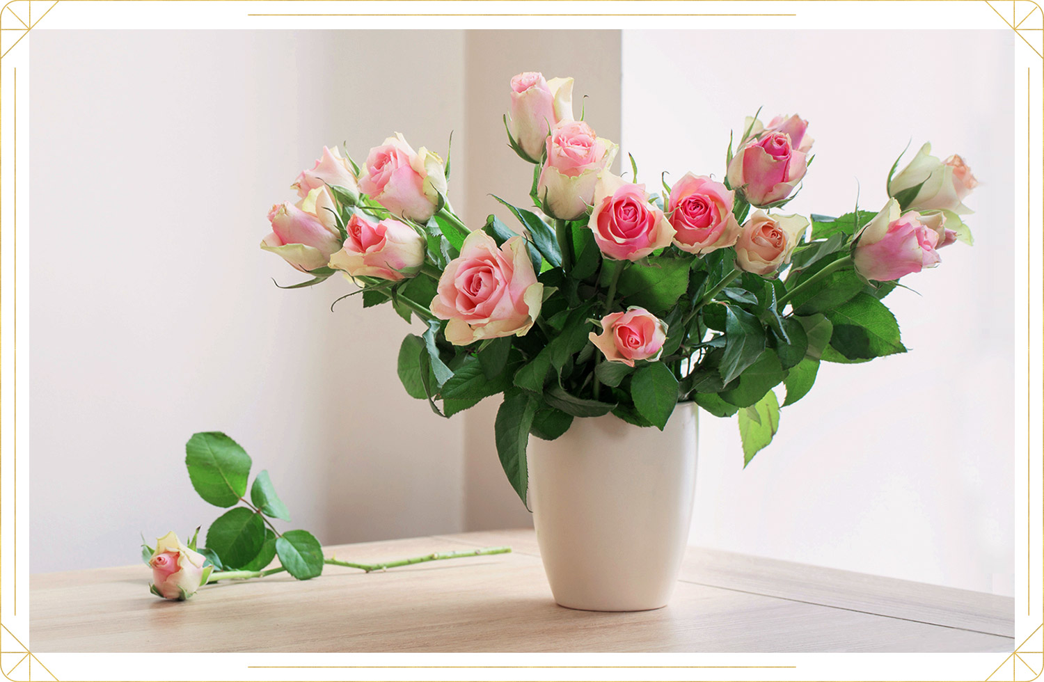 photo of a pink roses in a white vase