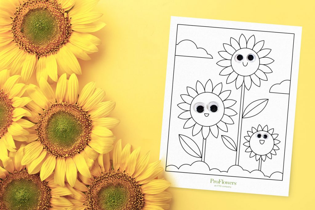 sunflowers on yellow background with cute coloring page