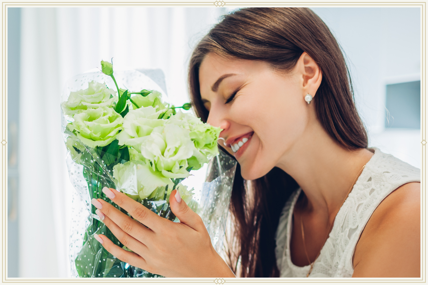 woman holding bouquet of green roses
