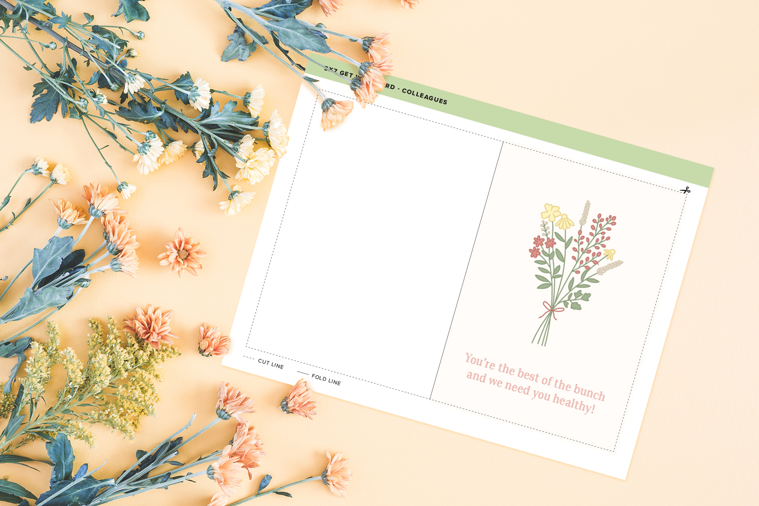 flower themed get well card printable on light orange background with field flowers