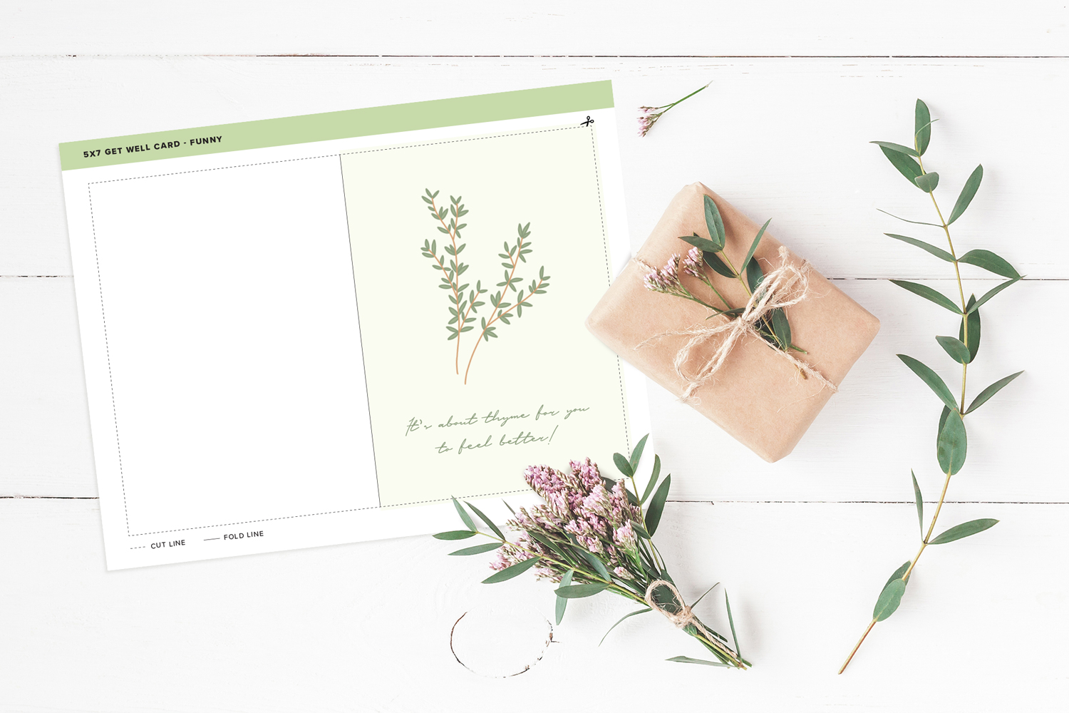 thyme themed feel better card printable on wooden background with olive branches