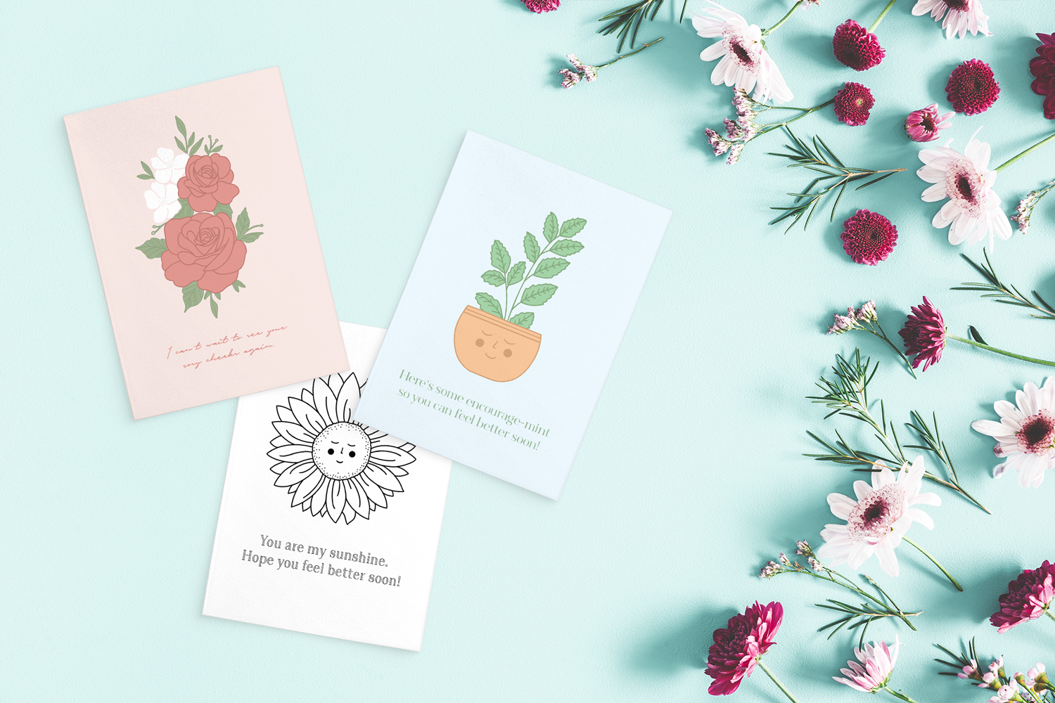printable get well cards on turquoise background with red and pink flowers