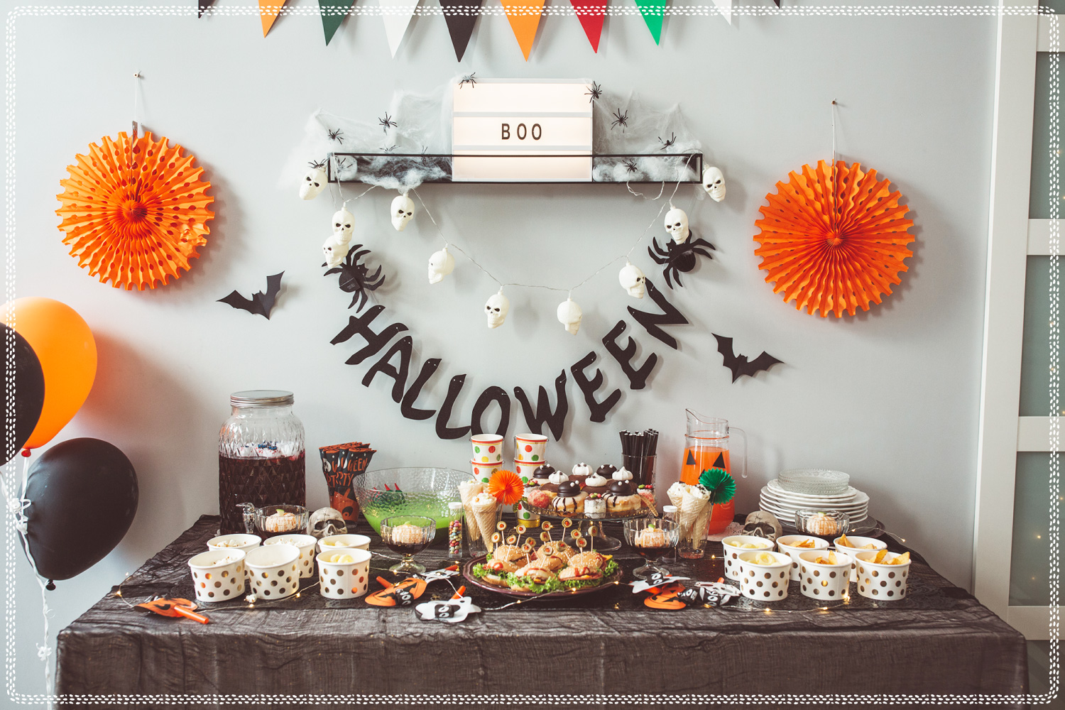 table with halloween treats