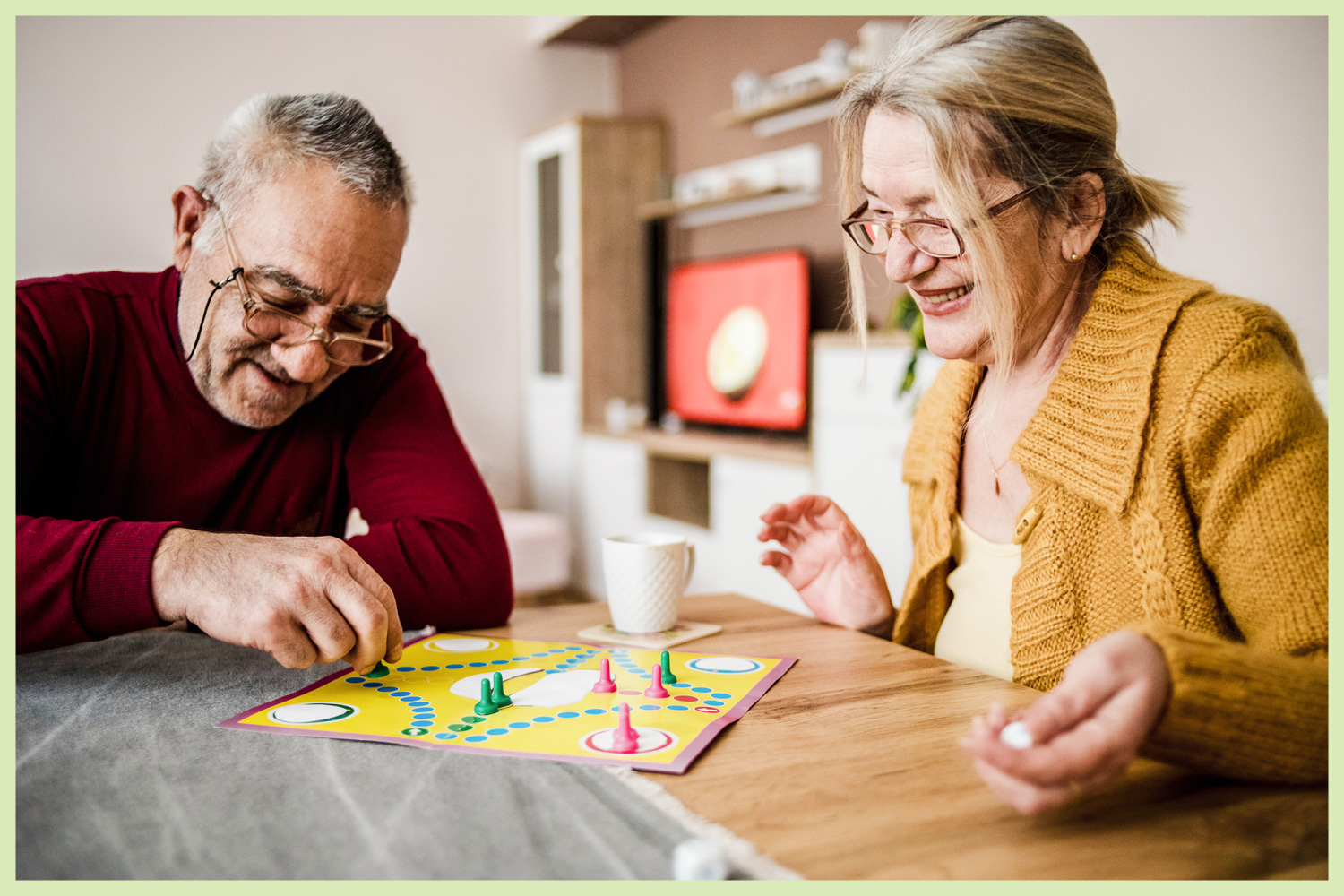 couple playing a board game