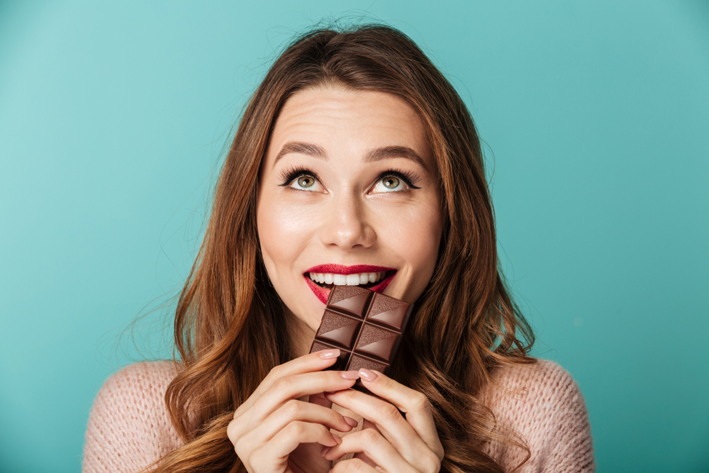 lady eating chocolate