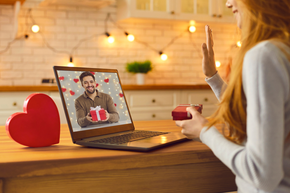woman on a virtual valentine's day date