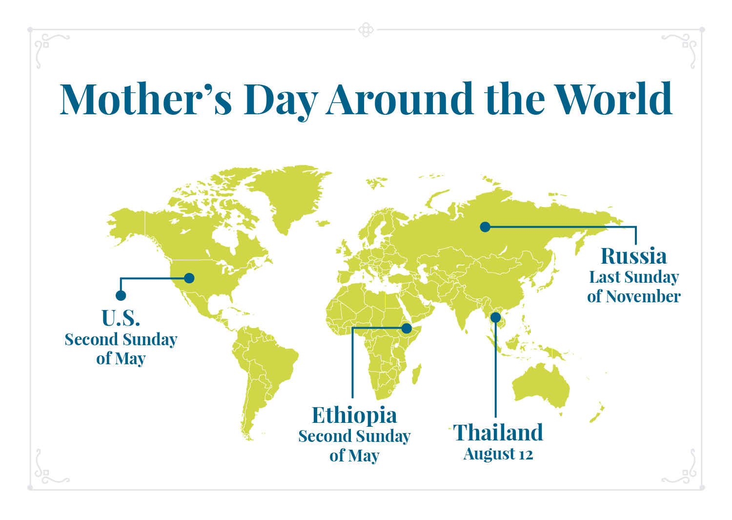 Mother's Day map of celebrations