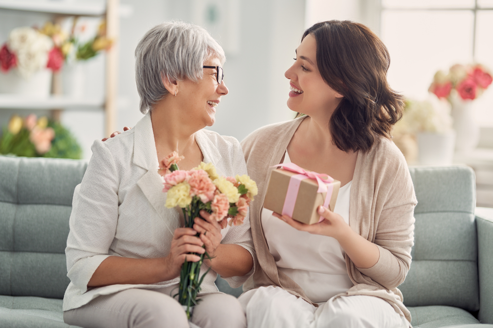 Mother and Daughter with Mother's Day Gifts